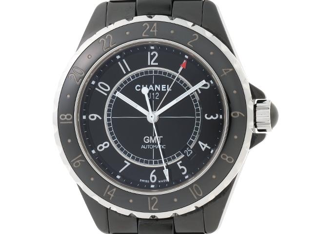 【送料無料】CHANEL シャネル 時計 J12 GMT オートマチック ブラックセラミック ステンレス H2012 42mm 【430】【中古】【大黒屋】