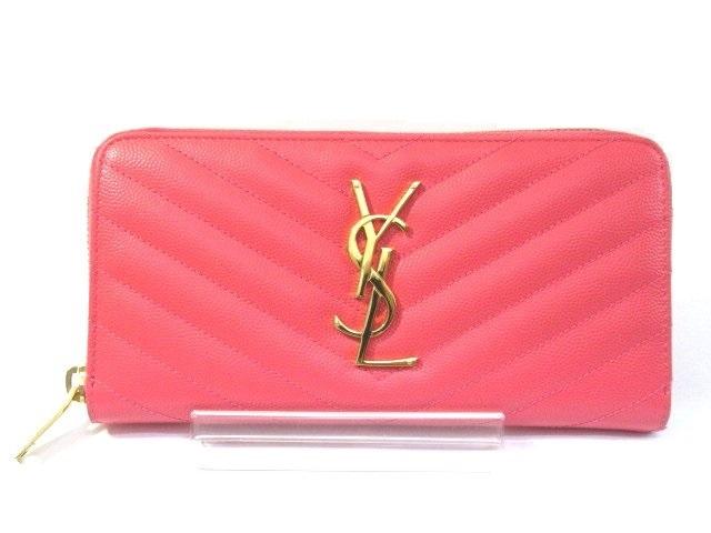 YVES SAINT LAURENT イヴ・サンローラン ラウンド長財布 ピンク 型押し ピンク【413】【中古】【大黒屋】