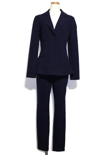 [送料別]Christian Dior クリスチャンディオール スーツ レディース 38/38 ネイビー ウール ジャケット パンツ 6A21233A1116 【472】【中古】【大黒屋】