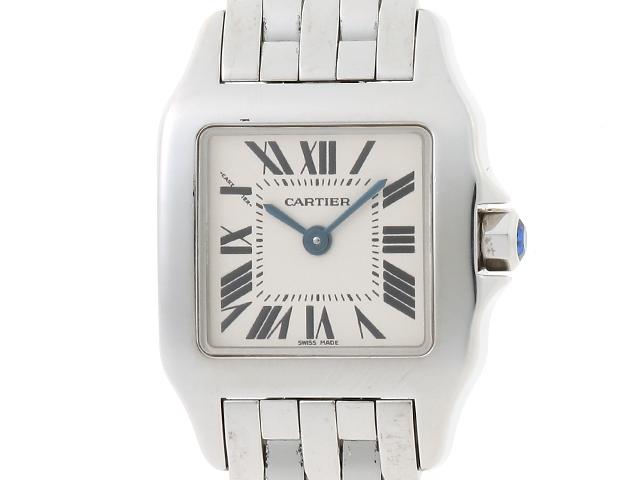【送料無料】Cartier カルティエ サントス ドゥモアゼルSM W25064Z5 ホワイト文字盤 ステンレス クオーツ【204】【中古】【大黒屋】