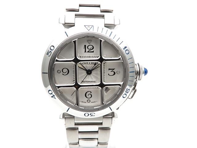 【送料無料】Cartier カルティエ 時計 パシャグリット W3105955 オートマチック ステンレススチール シルバー文字盤 【439】【中古】【大黒屋】