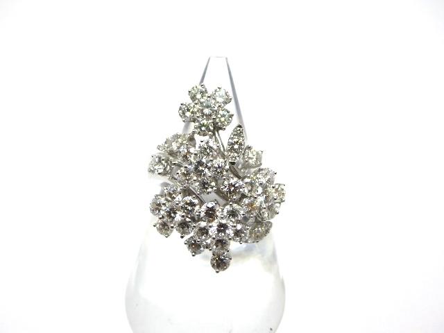 【送料無料】Queen クイーン ホワイトゴールド ダイヤモンド リング K18WG D3.68 13.8g 14号【430】【中古】【大黒屋】