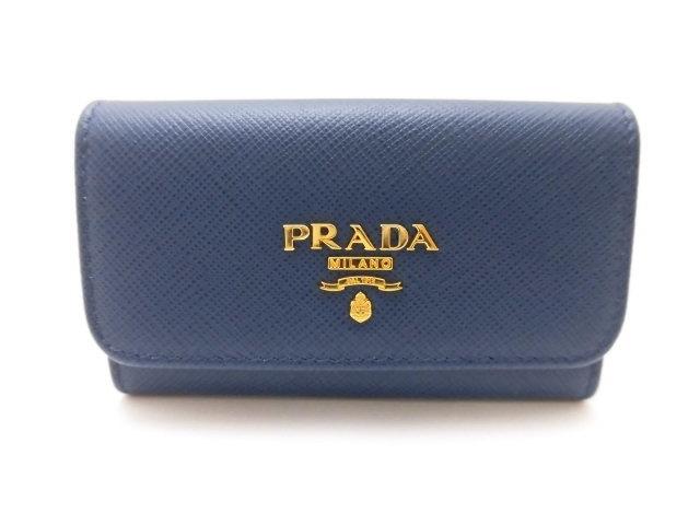 PRADA プラダ 6連キーケース キーケース サフィアーノレザー ブルー 1PG222【473】【中古】【大黒屋】