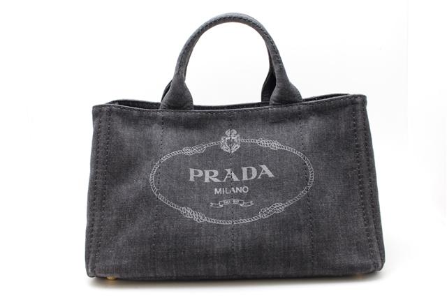 PRADA バッグ ハンドバッグ 2WAY カナパ デニム ブラック ストラップ付 【412】【中古】【大黒屋】