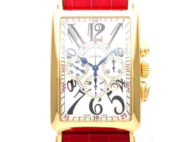 【送料無料】FRANCK MULLER フランクミュラー 時計 ロングアイランド クロノグラフ 1200CCAT YG・革 ギョウシエ文字盤 オートマチック メンズ 国内正規品 【438】【中古】【大黒屋】