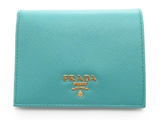 PRADA プラダ 二つ折財布 サフィアーノ 1MV204 エメラルドグリーン【434】【中古】【大黒屋】