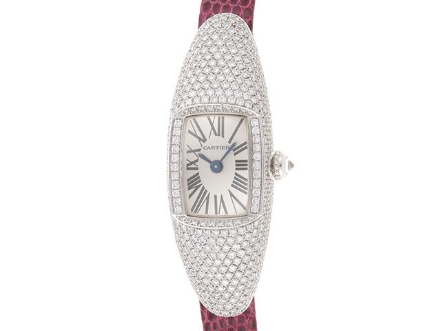 【送料無料】Cartier カルティエ 時計 カスク ダイヤベゼル WJ302050 ホワイトゴールド クォーツ レディース 【430】【中古】【大黒屋】