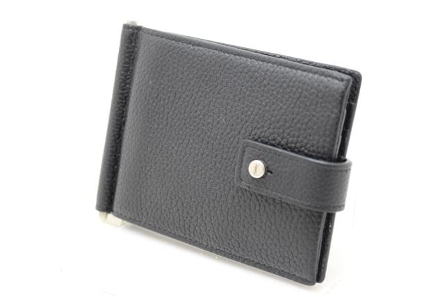 YVES SAINT LAURENT 財布 マネークリップ付二つ折り財布 カーフ ブラック【412】【中古】【大黒屋】