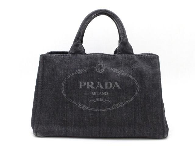 PRADA プラダ カナパ ハンドバッグ ショルダーバッグ 2WAY デニム ブラック【473】【中古】【大黒屋】