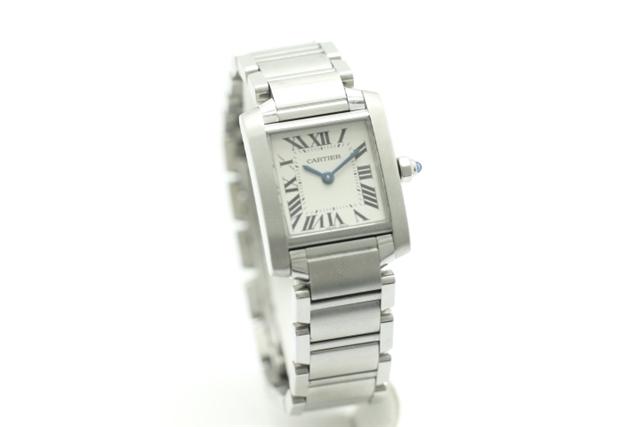 【送料無料】Cartier カルティエ 時計 クオーツ レディース 白文字盤 タンクフランセーズSM 【450】【中古】【大黒屋】