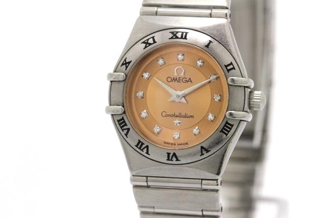 【送料無料】OMEGA オメガ レディース 時計 コンステレーション シンディ・クロフォード 1997本限定 クオーツ SS サーモンピンク 12Pダイヤ 1564.65 【432】【中古】【大黒屋】