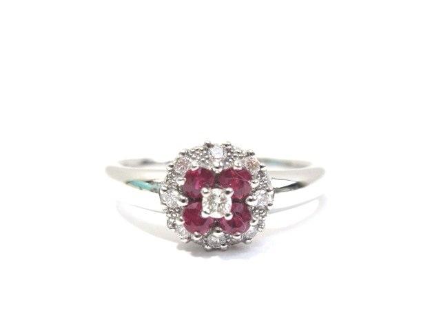 STAR JEWELRY スタージュエリー K18WG リング 指輪 色石 ダイヤモンド 3.6g 13号【413】【中古】【大黒屋】