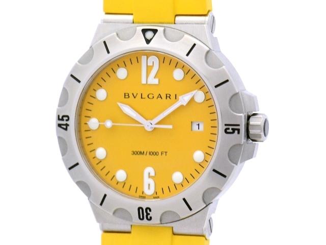 【送料無料】BVLGARI ブルガリ ディアゴノ・スクーバ DP41S SS/ラバー イエロー 男性用自動巻き時計【472】【中古】【大黒屋】