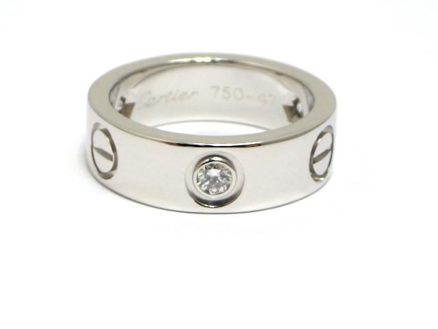 【送料無料】Cartier カルティエ WG ハーフダイヤモンド ラブリング 47号 【430】【中古】【大黒屋】