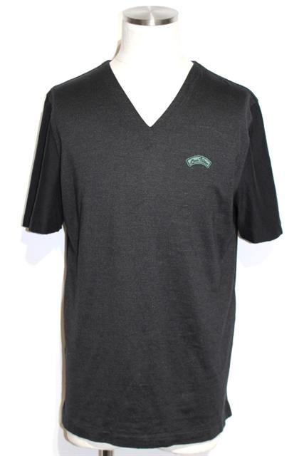 LOUIS VUITTON ルイヴィトン LV Tシャツ メンズ XL グレー ブラック コットン シルク LVロゴ RM151MH7Y10WJR4 刺繍【200】【中古】【大黒屋】