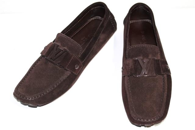 LOUIS VUITTON ルイヴィトン 革靴 モカシン ドライビングシューズ メンズ7 約26cm ブラウン スエード LVロゴ【200】【中古】【大黒屋】
