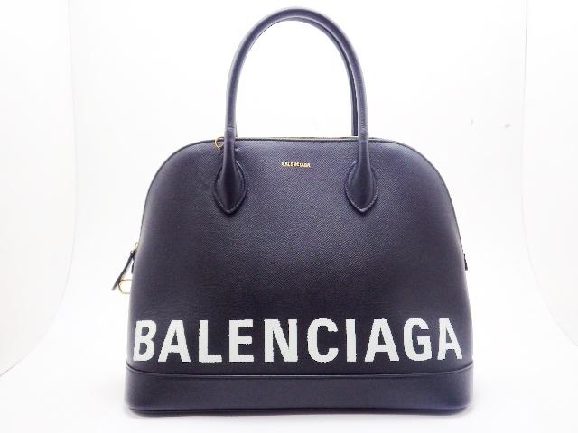 【送料無料】BALENCIAGA バレンシアガ ハンドバッグ ビルトップハンドルM カーフ 型押し ブラック【430】【中古】【大黒屋】