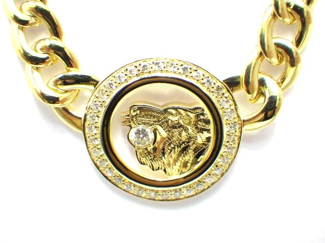 【送料無料】ノンブランド イエローゴールド ダイヤモンド 虎 デザイン ネックレス K18 D 37.7g【430】【中古】【大黒屋】
