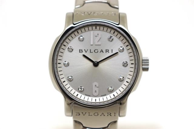 [送料無料]BVLGARI ブルガリ 時計 ソロテンポ ST29S 10ポイントダイヤ ステンレス クオーツ レディース 【200】【中古】【大黒屋】