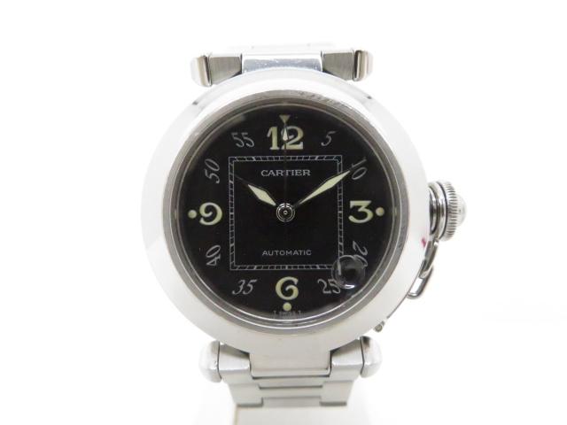 【送料無料】Cartier カルティエ 時計 パシャC オートマチック ブラック W31043M7【203】【中古】【大黒屋】