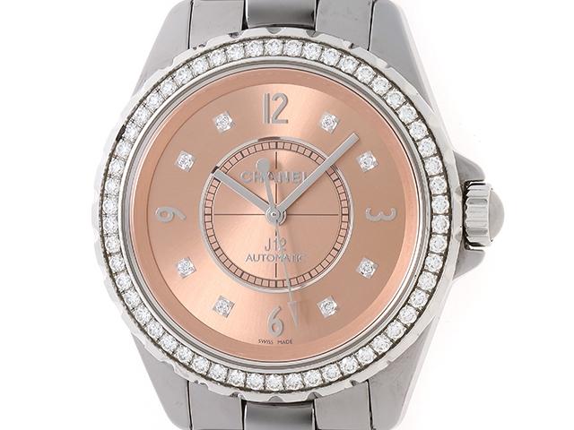 【送料無料】CHANEL シャネル 時計 J12 クロマティック ダイヤベゼル H2564 ピンク チタンセラミック オートマチック 134.9g【472】【中古】【大黒屋】