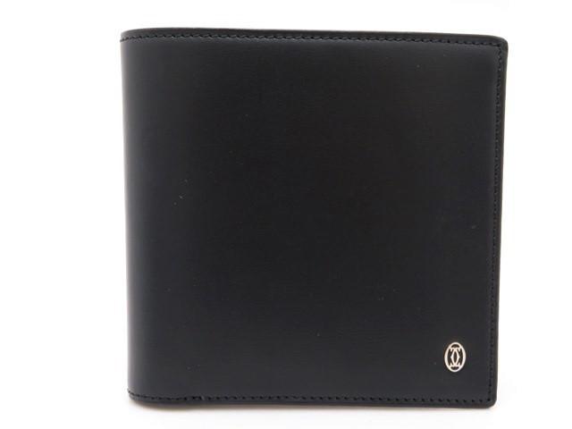 Cartier カルティエ サイフ 小物 二つ折り財布 カーフ ブラック【473】【中古】【大黒屋】