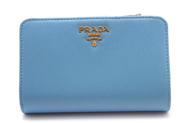 PRADA プラダ 二つ折財布 財布 カーフ型押し 1ML225 ブルー【460】【中古】【大黒屋】