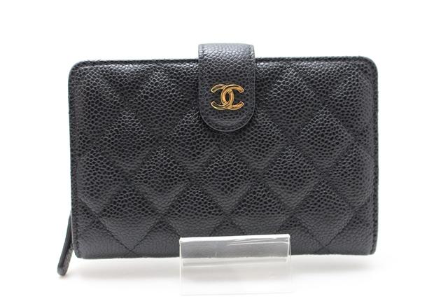 【送料無料】CHANEL 財布 二つ折財布 キャビアスキン ブラック 【412】【中古】【大黒屋】