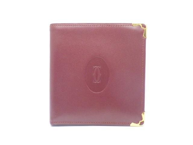 Cartier カルティエ サイフ・小物 二つ折財布 財布 二つ折財布 カーフ ボルドー【438】【中古】【大黒屋】
