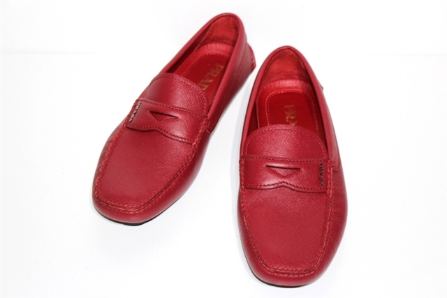 PRADA プラダ 革靴 ドライビングシューズ メンズ6ハーフ 約25.5cm レッド レザー 【200】【中古】【大黒屋】