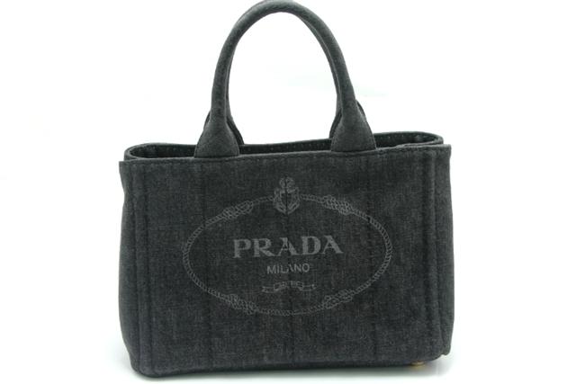 PRADA プラダ ハンドバッグ デニム ダークグレー カナパ 【450】【中古】【大黒屋】