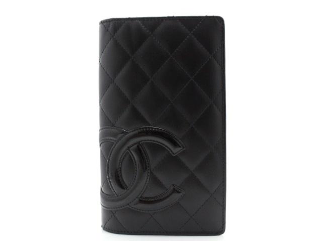 【送料無料】CHANEL シャネル 二つ折り長財布 カンボンライン ブラック ピンク 【474】【中古】【大黒屋】