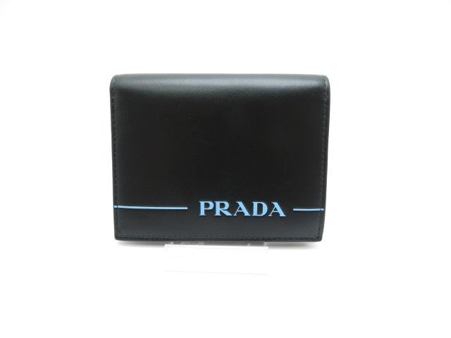 PRADA 二つ折財布 ミラージュ カーフ 1M204 ブラック【430】【中古】【大黒屋】
