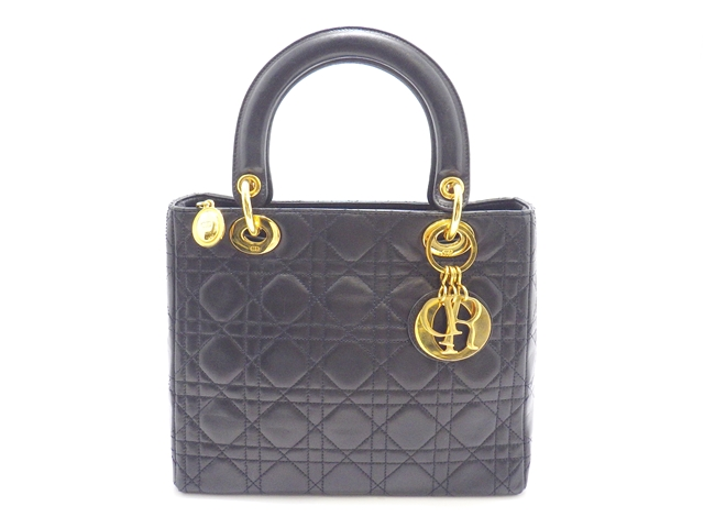 【送料無料】Dior ディオール カナージュ ハンドバッグ ラムスキン ブラック【438】【中古】【大黒屋】