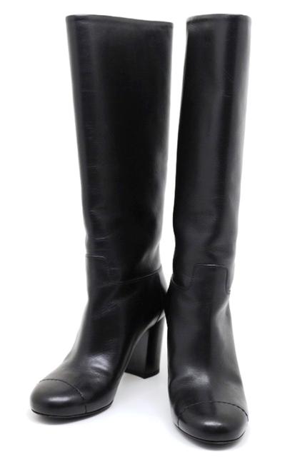 CHANEL シューズ ブーツ ロングブーツ レディース 36 約23cm ブラック レザー ココマーク G31017【200】【中古】【大黒屋】