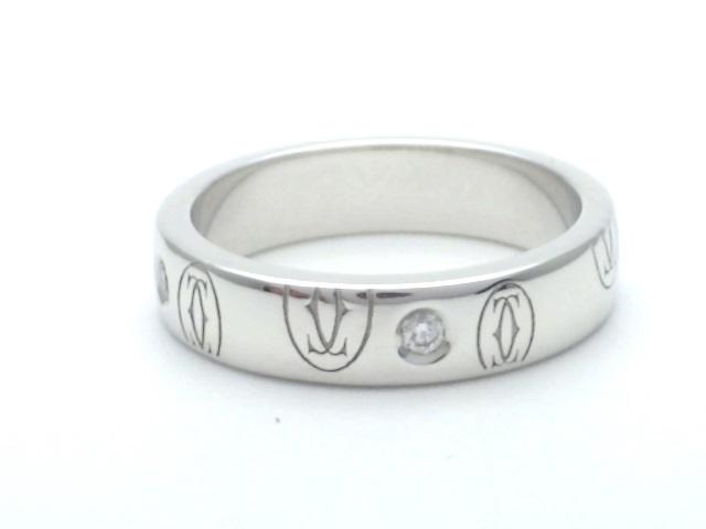 【送料無料】Cartier カルティエ 指輪 ハッピーバースデーリング ホワイトゴールド WG ダイヤ D 46号 6号 【436】【中古】【大黒屋】