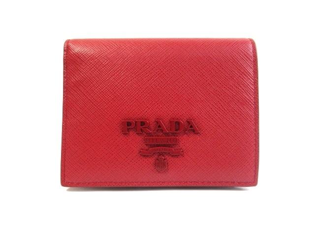 PRADA プラダ サイフ・小物 二つ折財布 財布 型押し レッド【413】【中古】【大黒屋】