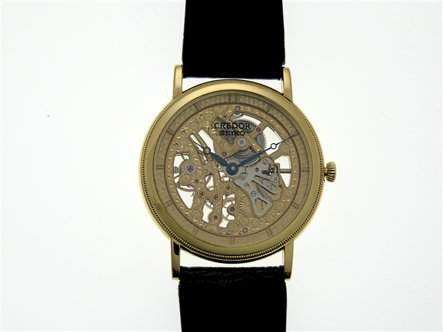 【送料無料】SEIKO 時計 手巻き時計 クレドール・シグノ メカニカル スケルトン【430】【中古】【大黒屋】