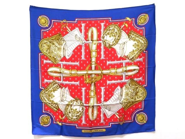HERMES エルメス 衣料品 スカーフ カレ90 シルク レッド/ブルー SELLES A HOUSSE(カバーへの腰かけ)【470】【中古】【大黒屋】