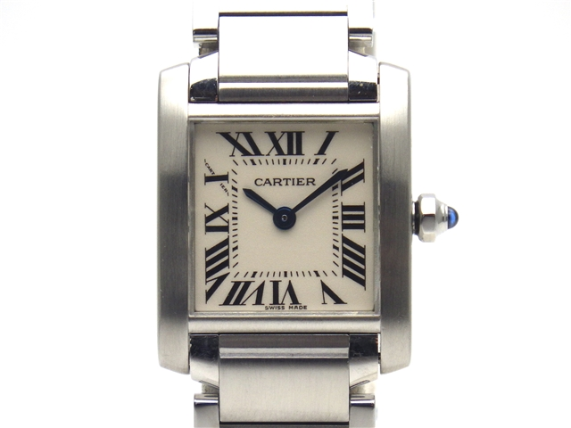 [送料無料]Cartier カルティエ 時計 タンクフランセーズ W51008Q3 SS クオーツ 白文字盤 レディース 【438】【中古】【大黒屋】