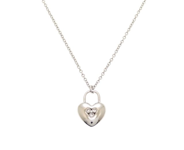 TIFFANY&CO ティファニー ハートネックレス K18ホワイトゴールド ダイヤモンド 3.5g 【204】【中古】【大黒屋】