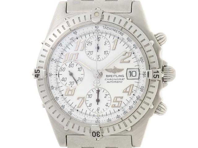 【送料無料】BREITLING 時計 クロノ マット A13350 オートマチック  白文字盤 メンズ SS【430】【中古】【大黒屋】