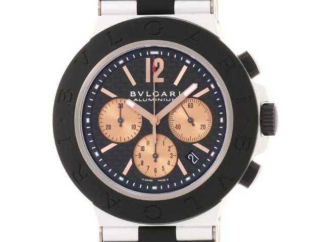 【送料無料】BVLGARI ブルガリ ディアゴノ アルミニウム 男性用腕時計 オートマチック クロノグラフ ブラック ピンクゴールド カーボン ラバー AC44TA 【474】【中古】【大黒屋】