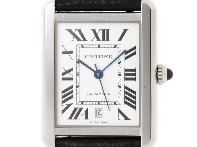 【送料無料】Cartier カルティエ タンク・ソロXL WSTA0029 ステンレス/革 オートマチック メンズ シルバー文字盤【204】【中古】【大黒屋】