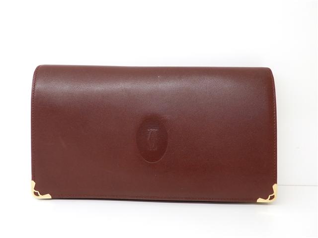 Cartier 二つ折札入れ 財布 がま口小銭入れ カーフ ボルドー【411】【中古】【大黒屋】
