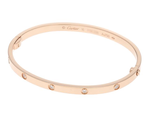 【送料無料】Cartier カルティエ LOVE ミニラブブレス ブレスレット ラブブレスSM PG ピンクゴールド オールダイヤ ダイヤモンド10個 17.6g #16【430】【中古】【大黒屋】