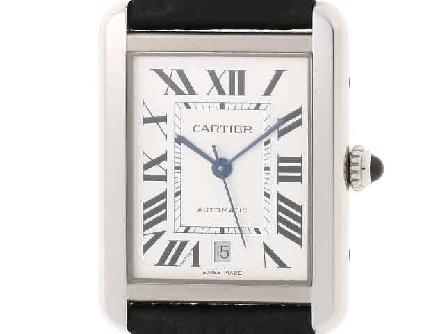 【送料無料】Cartier カルティエ  タンク・ソロXL 男性用腕時計 オートマチック ステンレススチール 革ベルト ブラック Dバックル 【474】【中古】【大黒屋】