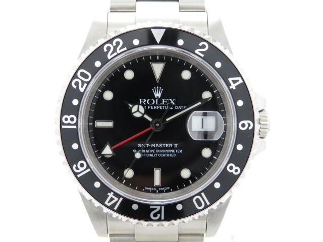 【送料無料】ROLEX ロレックス GMTマスター2 男性用腕時計 オートマチック 16710 ブラック 黒文字盤 A番 【474】【中古】【大黒屋】