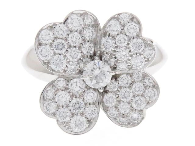 【送料無料】Van Cleef & Arpels ヴァンクリーフ&アーペル ダイヤモンド リング コスモスミディアム WG D 11.9g #57【200】【中古】【大黒屋】