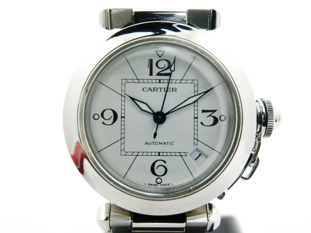 【送料無料】Cartier カルティエ 時計 オートマチック パシャC ホワイト W31074M7 ボーイズ【430】【中古】【大黒屋】
